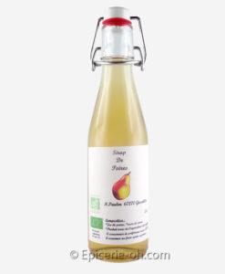 Sirop de poire bio et artisanal confectionné par Nicolas, producteur de fruits et petits fruits, et transformateur. Un produit bio et en direct producteur.